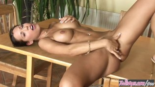 Twistys  - Samantha Saint plays with her dildo in the kitchen