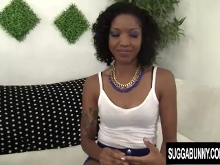 Slim Chocolate Chick Lotus Lain Uses Her Mouth and Twat on a BBC