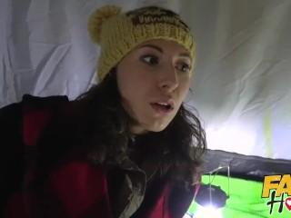 Fake Hostel Happy young camper seduced by big tits lesbian milf