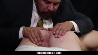 MormonBoyz - Priest daddy spanks jock butt bent over knee