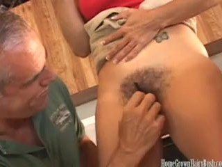 Hairy mature plays with her bush then gets fucked hard
