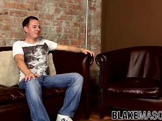 Hung stud Jake Richards jerking off uncut member solo