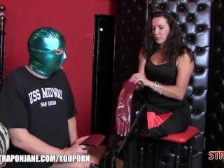 Strapon Jane dominates her love slave with new leather gloves and a hard ass fuck
