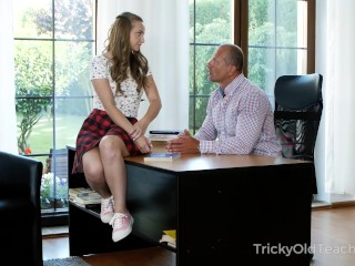 Playful teen teases experienced teacher with her juicy body