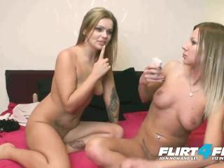 Flirt4Free Models Barbi Black & Camilla Sweet - Sweet Blonde Lesbians Dildo and Butt Plug Each Other Senseless