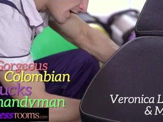 Fitness Rooms Sexy Colombian with amazing natural body fucks lucky handyman