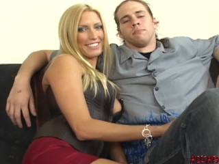 Sexy wife Cassie Young fucked with cuckold husband watching