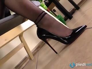 Fully fashioned RHT stockings feet and shiny black high heels