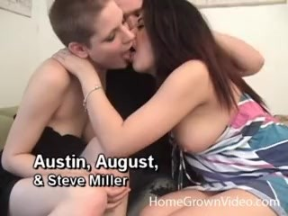 Amateur threesome with two filthy whores