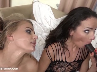 Babes get triple anal penetration and pussy fucked by 4 black men