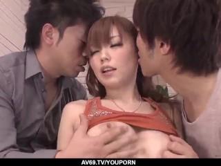 Buruma Aoi sucks and fucks with two men in the same time - More at 69avs.com