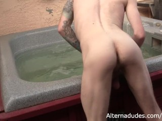 Bearded Ginger Hipster Gets Hot Tub Blowjob from Hairy Cub Buddy