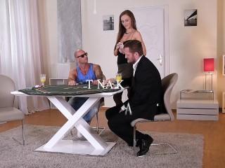 Super hot poker pro Tina Kay swallows & rides 2 big hard dicks with her ass