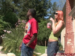 Redhead Marcha Lord gets anal from a huge black cock