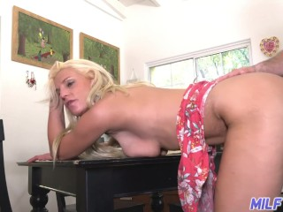 MILF Trip - Blonde MILF sucks cock and fucks in the kitchen - Part 2