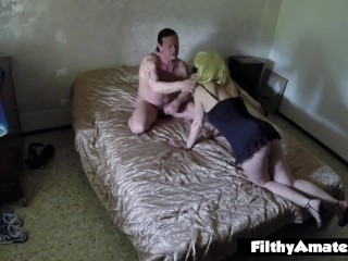 Squirty depraved wife gets cumshot in her mouth in real orgy