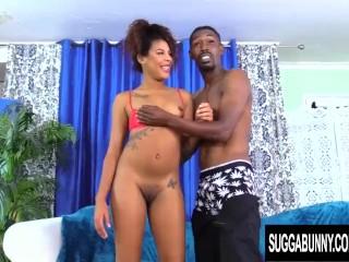 Brown Sugar Honey Zoey Reyes Sucks and Screws a Huge Black Cock