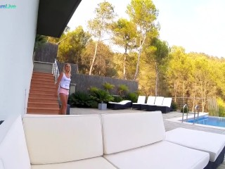 Small tits Christen Courtney goes for quickie sex outdoors