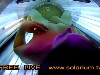hot horny girl masturbating public tanning salon, reallifecam under the tanning bed filmed all.