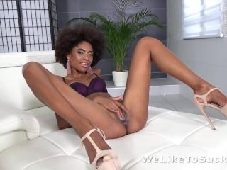 Blowjob fun for Brazilian masturbating her cum covered pussy!