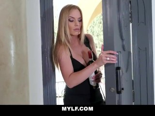 MYLF- On The Phone With Husband While Fucking and Filled By Her Stepson