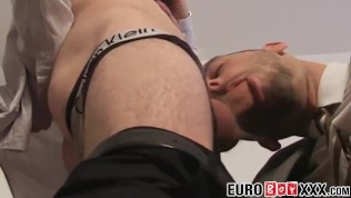 Twinkie takes big uncut dick in his ass and a big load