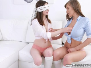 Busty/young and parties blindfold prelude