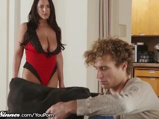 SweetSinner Angela White in Red Lingerie Needs 2 Get Fucked