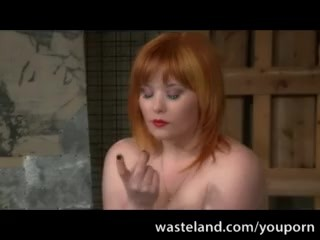 Boots/submissive lesdom with curvy redhead