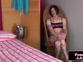 Tattooed ts debutante teasing and stripping