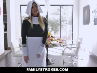FamilyStrokes - Stepdad and Brother Get Their DickS Sucked At Thanksgiving
