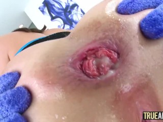 TRUE ANAL Petite redhead Lola Fae ass fucked and gaped