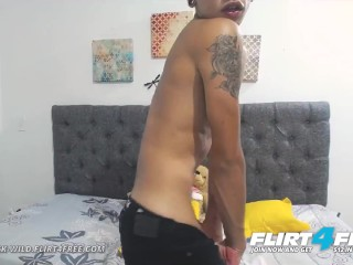 Flirt4Free Model Dominick Wild - Sexy Latino Twink Cums and Plays with His Ass