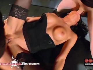 Double Vaginal For Brunette Whore - German Goo Girls
