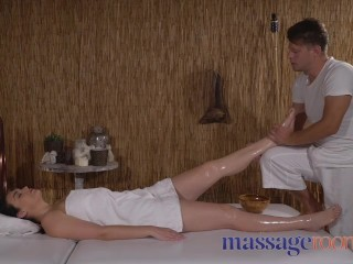 Massage Rooms Oiled PAWG with natural tits gets a pounding from masseuse