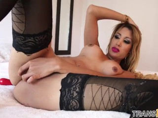 Alluring tranny stroking cock in lingerie