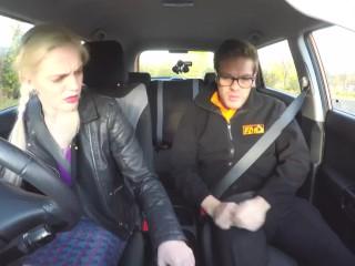 Fakedrivingschool/driving redhead voluptuous school in