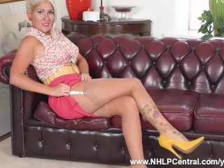 Busty blonde strips teases masturbates in full fashioned sheer nylons and stilettos