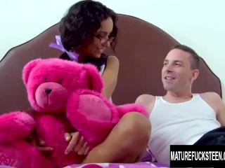 Black haired cutie Tia Cyrus gets her tight pussy stretched by an old cock