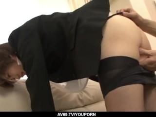 Akina Hara banged in both holes by a group of men - More at 69avs.com