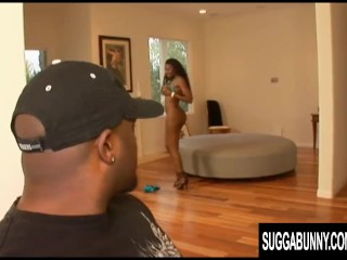 Black Slut Nyomi Banxxx Gets Her Ass and Pussy Stuffed Before Anal Creampie