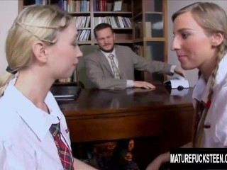 Teen Schoolgirls Morgan Moon and Mina Have a Threesome with Their Teacher