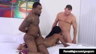 Ebony Mocha Menage Mouth Fucked By Rome Major & White Bro!