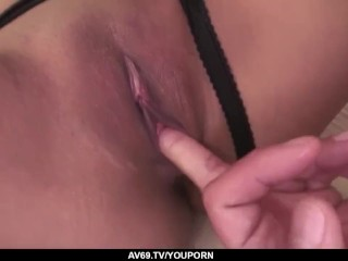 Aika Hoshino fucked deep in her shaved pussy and ass - More at 69avs.com