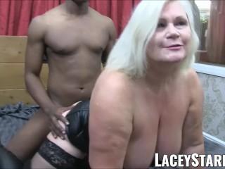 LACEYSTARR – Leather clad granny gains interracial spitroast