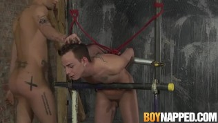 Tied up gay dude throat banged and whipped on his ass