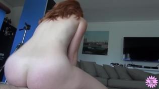 POV Cock Sucking Redhead Takes Facial