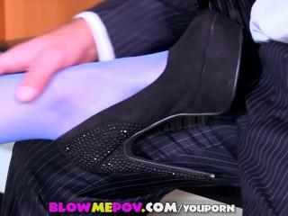 Blow Me POV - Naughty Secretary Foot Fetish Blowjob