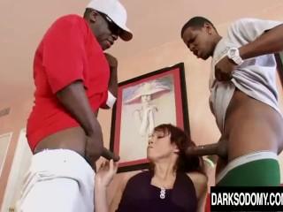 MILF Nicki Hunter Mercilessly Drilled by Two Black Cocks