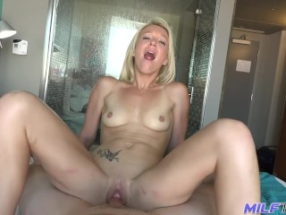 MILF Trip – Hot blonde MILF sucking and getting fucked by BWC – Part 2